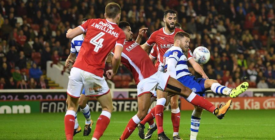 Mackie hooks it over the Barnsley bar
