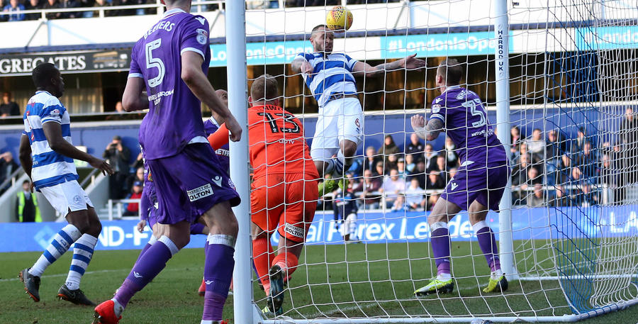 Joel Lynch heads QPR 1-0 up in the second half